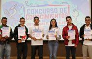 Premia Gobierno del Estado a jóvenes ganadores del Concurso de Conocimientos 2018