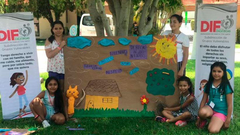 Participan niños y jóvenes difusores de los derechos de la infancia en campamento en Paraíso Caxcán