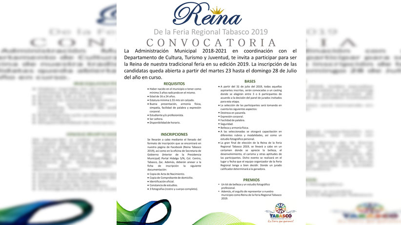 Convocatoria Reina de Tabasco 2019