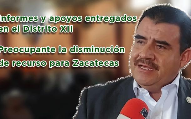 Preocupante la disminución de recurso para Zacatecas e informes y apoyos entregados en el Distrito XII
