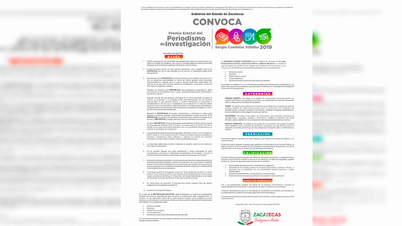 Invita Gobierno de Zacatecas a participar en Premio Estatal de Investigación
