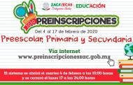 El 4 de febrero inician las preinscripciones para preescolar, primaria y secundaria
