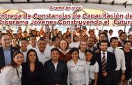 Evento en vivo: Entrega de Constancias de Capacitación del Programa Jóvenes Construyendo el  Futuro