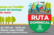 Contará Ruta Dominical con puntos de seguridad y servicios para las familias participantes
