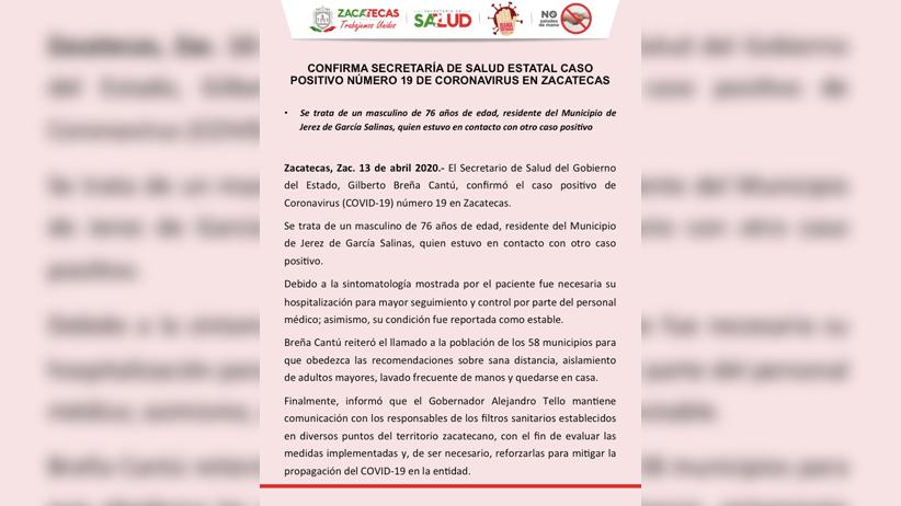 Caso positivo número 19 de Coronavirus en el estado de Zacatecas