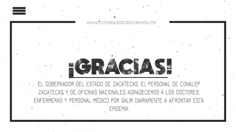 Video: Agradecimiento del Gobernador Alejandro Tello, directivos, docentes y estudiantes de CONALEP al personal médico.