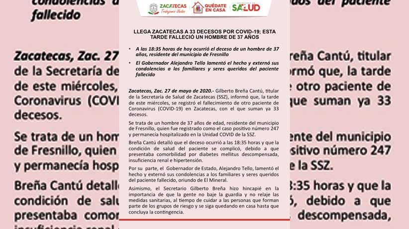 Llega Zacatecas a 33 decesos por COVD-19; esta tarde falleció un hombre de 37 años.