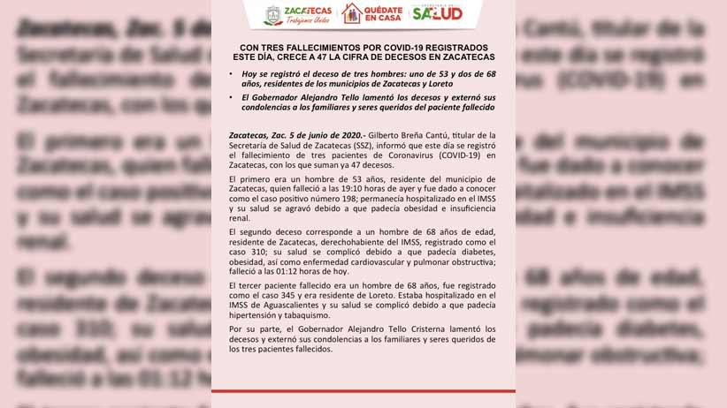 16 nuevos casos positivos de COVID-19 en Zacatecas