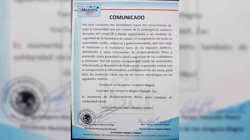 Cancelan actividades del novenario de Padre Jesús en Mazapil