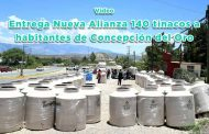 Entrega Nueva Alianza 140 tinacos a habitantes de Concepción del Oro (video)