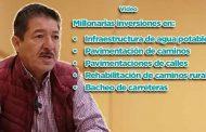 Realizamos millonarias inversiones en infraestructura de agua potable, pavimentación de caminos, pavimentaciones de calles, rehabilitación de caminos rurales, bacheo de carreteras: Gregorio Macías Zúñiga (video)