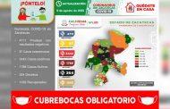 Registra Zacatecas 94 nuevos contagios de COVID-19 y acumula 3 mil 442 casos positivos