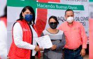 Distribuye Gobierno del Estado material para construcción a familias de Pinos