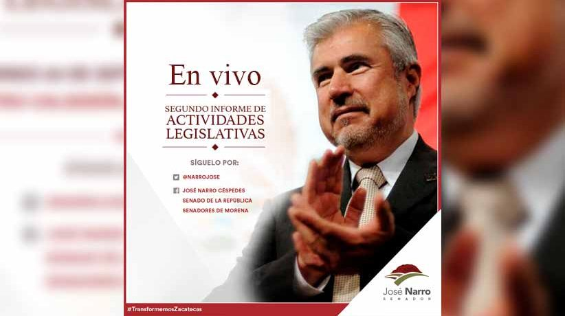 2do Informe Legislativo Senador José Narro Céspedes (En vivo)
