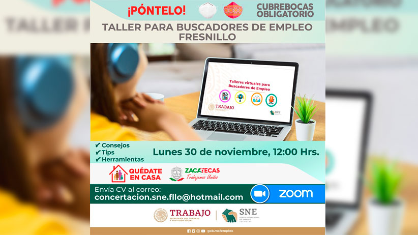 Invita Gobierno Estatal a taller virtual para buscadores de empleo en Fresnillo