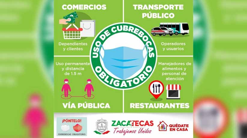 Entra en vigor ley que regula el uso de cubrebocas en Zacatecas