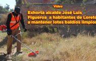 Exhorta el alcalde José Luis Figueroa Rangel a habitantes de Loreto a mantener los lotes baldíos limpios.