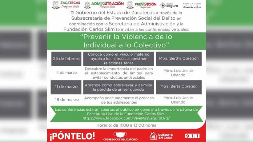 Gobierno estatal y Fundación Slim invitan a conferencias sobre prevención de la violencia