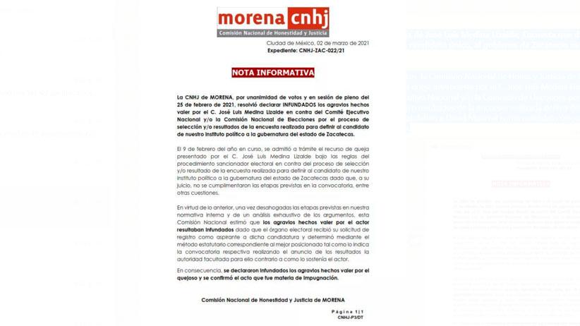 Sin fundamento queja de José Luis Medina Lizalde; Encuesta que defino a David Monreal como candidato único, al gobierno de Zacatecas es válida: CNHJ-MORENA