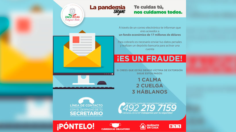 Advierte SSP modalidad de fraude con un falso fondo económico
