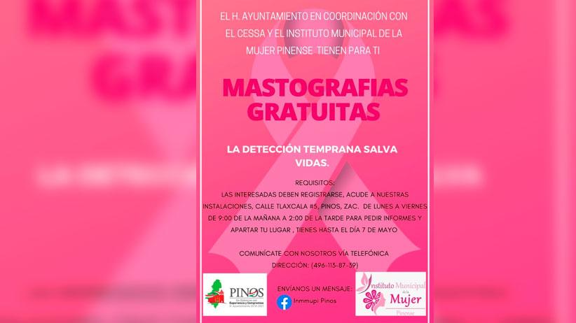 Ayuntamiento de Pinos regalara mastografías a mujeres Pinenses.