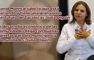 David Monreal sabe lo que está haciendo y tiene una gran visión del futuro de Zacatecas: Julia Olguín (video)