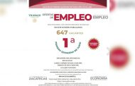 Se ofertan en Zacatecas, Fresnillo y Río Grande 647 vacantes de empleo