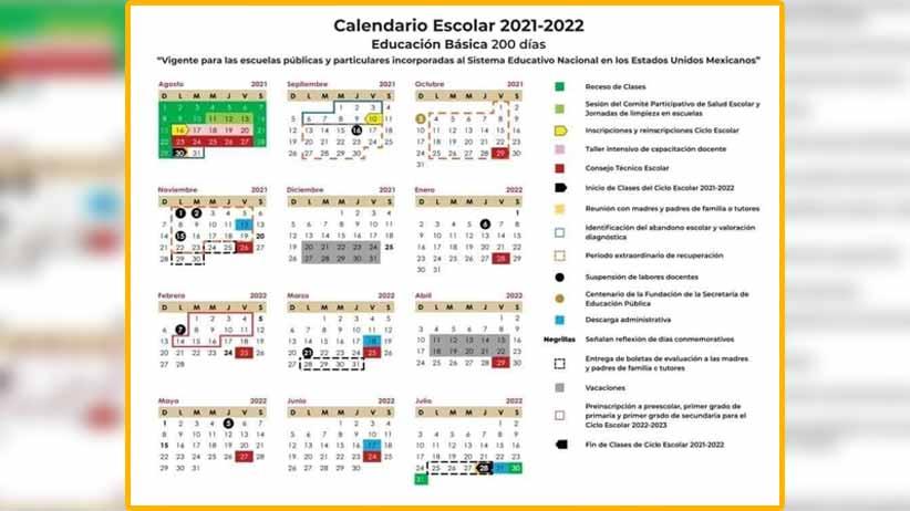 Calendario escolar será del 30 de agosto de 2021 al 28 de julio de 2022