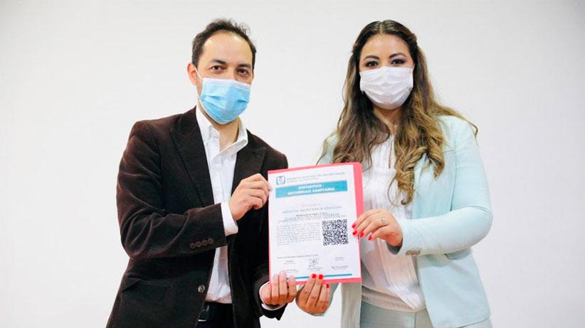 Recibe Secretaría de Educación distintivo de Seguridad Sanitaria por parte del IMSS