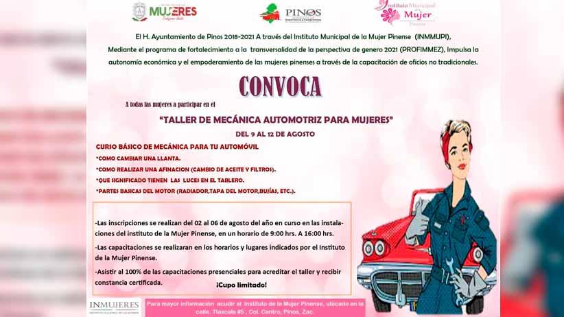 INMMUPI invita a las mujeres pinenses al Taller de mecánica automotriz
