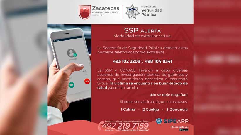 Con trabajo coordinado, SSP y Conase desactivaron un secuestro virtual en Zacatecas